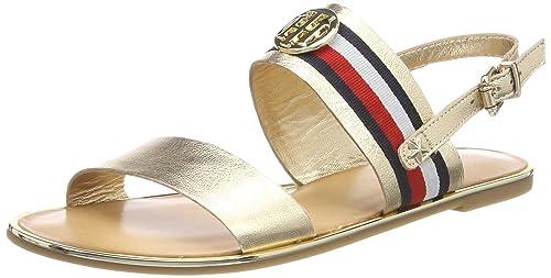 Tommy Hilfiger Corporate Ribbon Flat Met, Sandali con Cinturino Alla  Caviglia Donna, Oro (