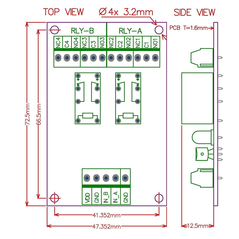 ELECTRONICS-SALON dos DPDT rel/é de se/ñales DC12V versi/ón para PIC AVR 8051 Arduino.