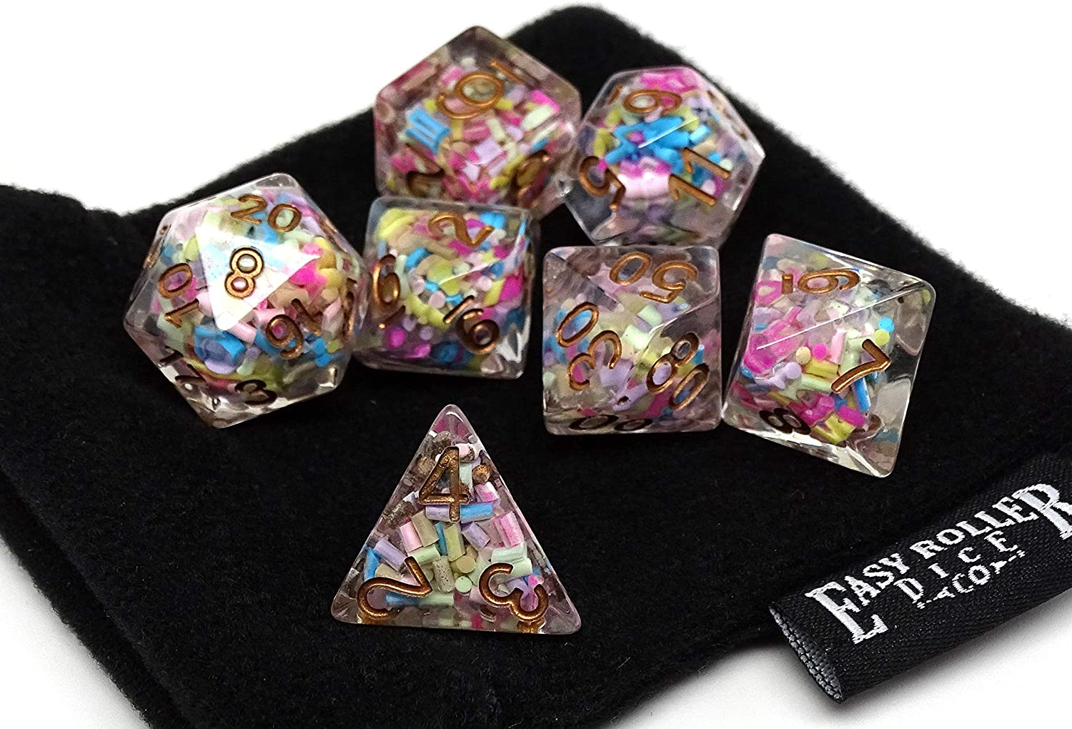 7 Piece Sprinkle Translucent Polyhedral Dice Set with Gold Numbering- Unique RPG Dice Set for Tabletop Gaming - Includes a Free Small Dice Bag