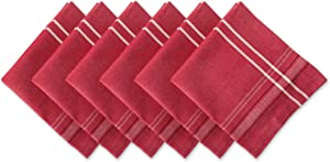 DII 100% Cotton Everyday French Stripe Tabletop Collection, Napkin Set, Red Chambray 6 Count