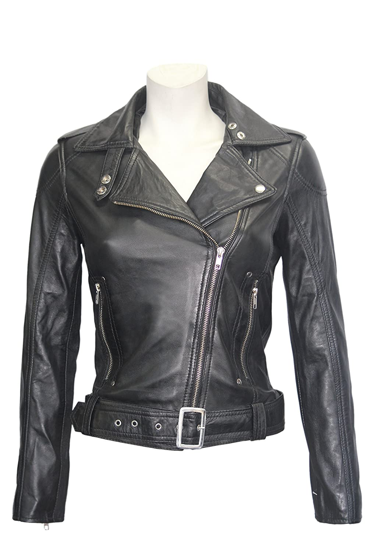 'BIKER GIRL' Ladies BLACK Rock Chick Style Designer Real Nappa Leather Jacket SMART RANGE