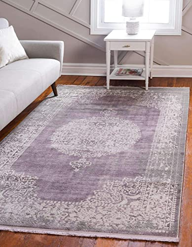 Unique Loom New Classical Collection Traditional Distressed Vintage Classic Purple Area Rug 8' 0 x 10' 0