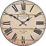 Orologio da muro - London 1879 - Silenzioso orologio da cucina in legno con grande quadrante in MDF, Orologio retro con design shabby chic alla moda con meccanismo silenzioso al quarzo, Ø: 32 cm