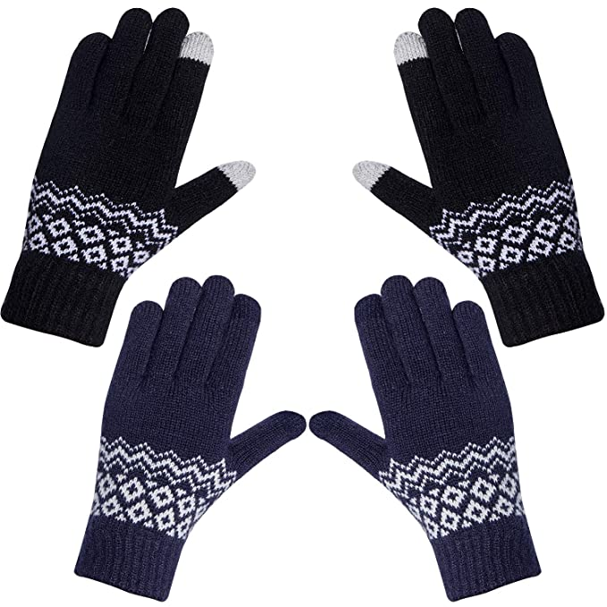 Amazon.com: 2 pares de guantes de punto para mujer de ...