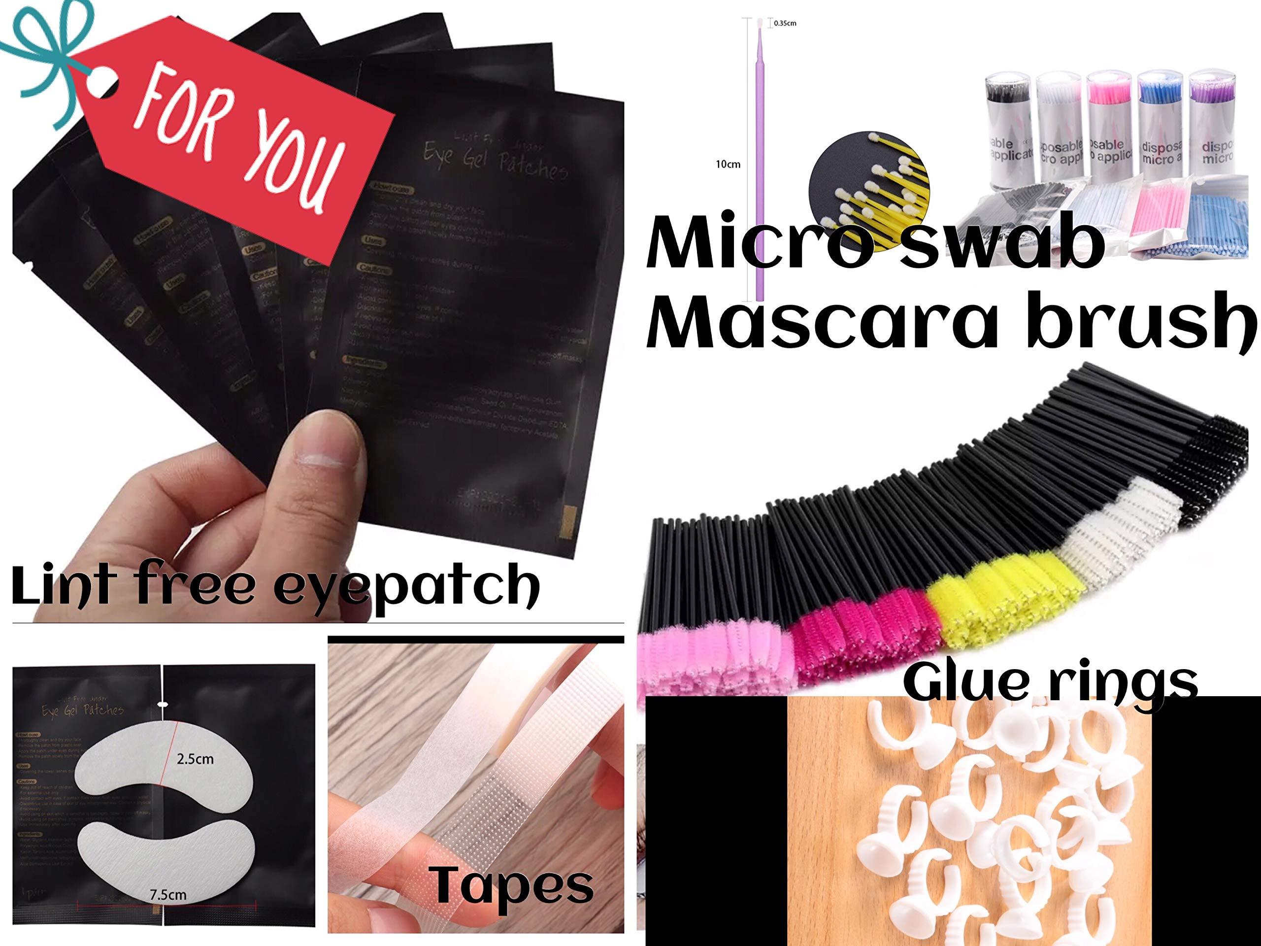 4X100 Eyelash Extension eye pads Lint free Under Eye Gel Pads+100 Disposable Mascara Brushes Wands Applicators +100 Micro Applicator Brush+100 Glue Rings+1 Medical+1Micro pore tape