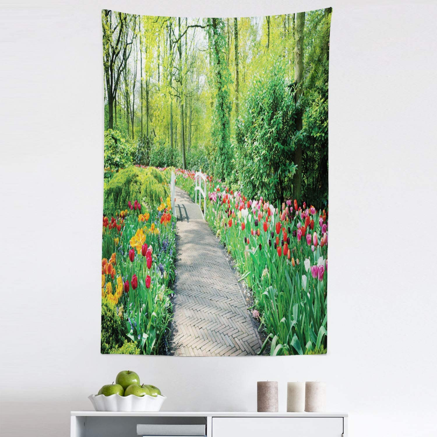 Lunarable Garden Tapestry, Tulips in Keukenhof Gardens and Path Along Colorful Flowers Trees Nature Landscape, Fabric Wall Hanging Decor for Bedroom Living Room Dorm, 30