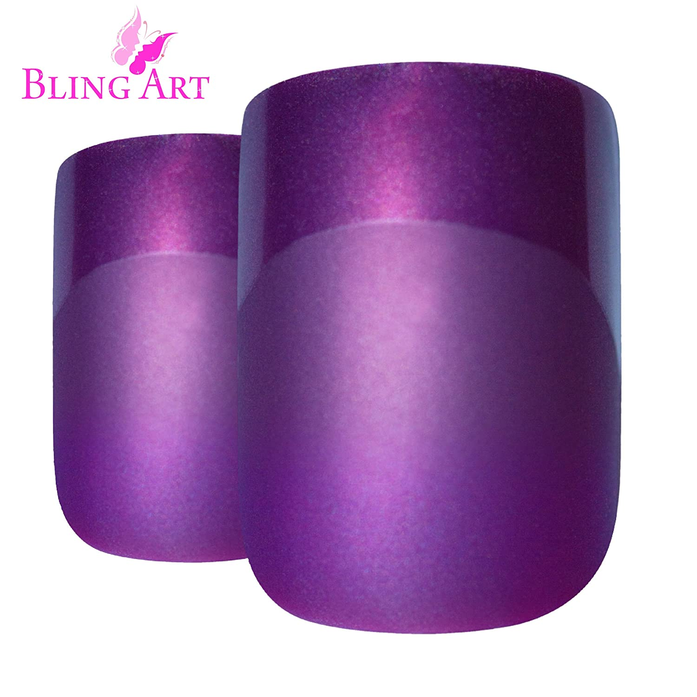 Bling Art False Nails French Fake Matte Purple Squoval 24 Acrylic Medium Tips