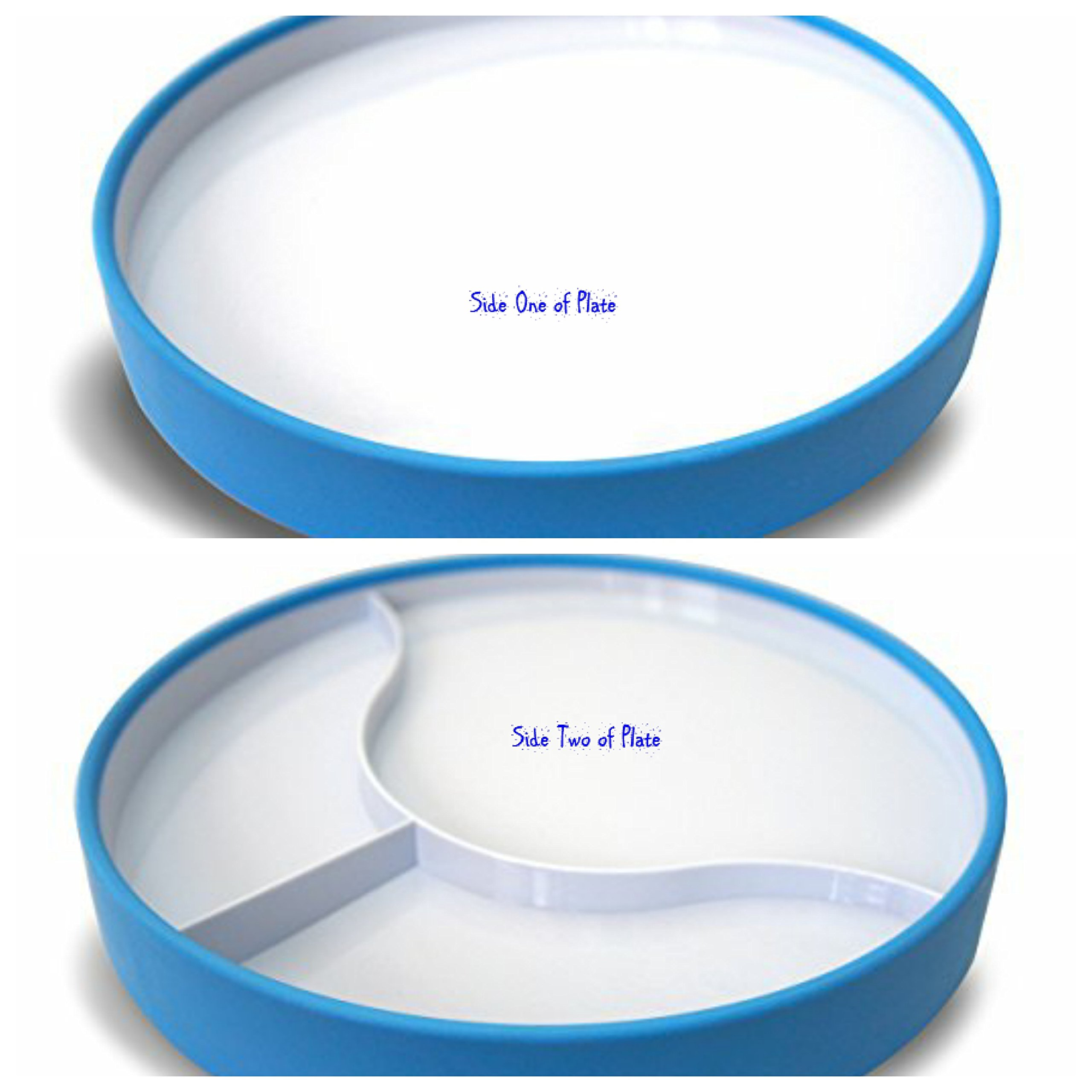 Stay N Eat Reversible 9'' Non Slip Plate with 1'' High Sides and Slight Angle to Plate for Food to Slide Down