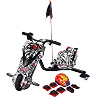 Toy&Joy Drifting Electric Scooter Multi color with Helmet Pad Set, Knee and Elbow Pads 36V, White, KD06(36v)