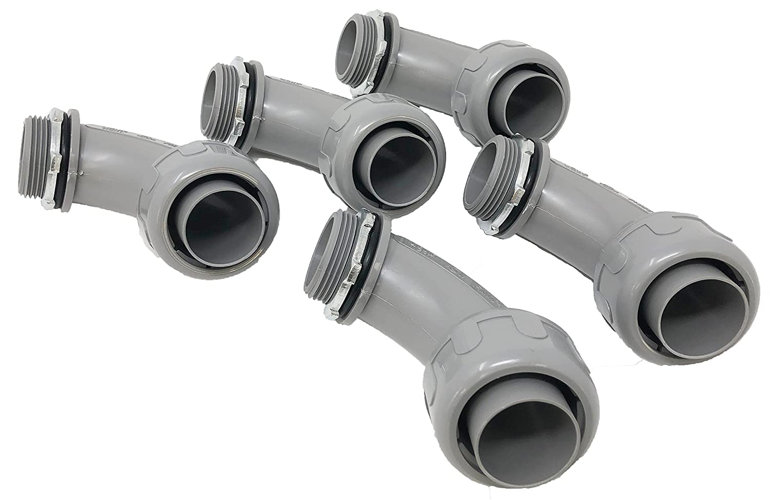 """Sealproof 1-1/4-Inch 5 Pack Non-Metallic Liquid-Tight 90-Degree Conduit Connector Fitting, 1-1/4"""" Dia 5-Pack"""