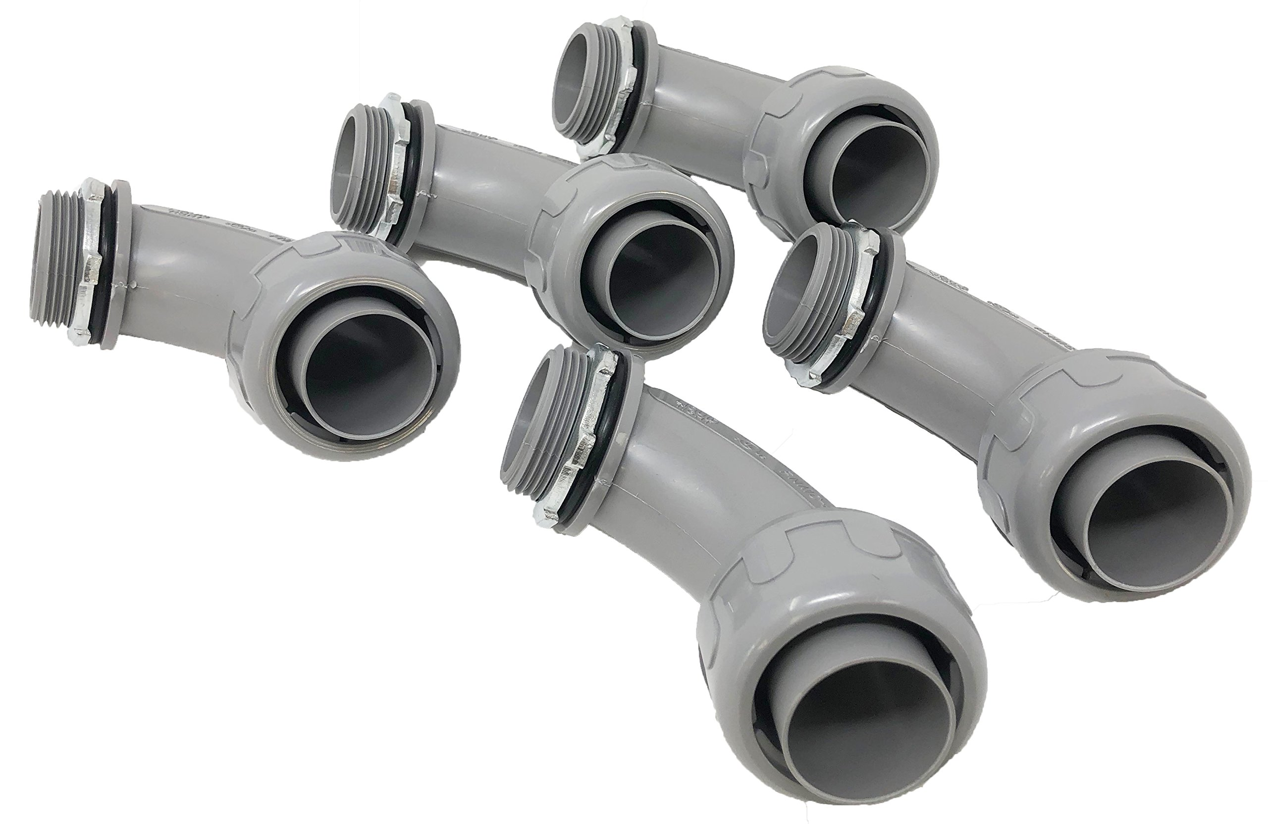 Sealproof 1-1/4-Inch 5 Pack Non-Metallic Liquid-Tight 90-Degree Conduit Connector Fitting, 1-1/4'' Dia 5-Pack