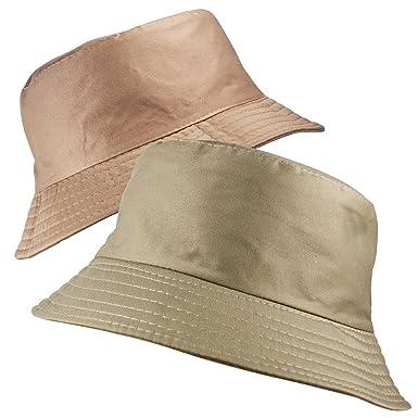 e02d33aa3a1 Classic Reversible Bucket Bush HAT 2 in 1 Plain Boonie Sun Unisex Mens  Womens in Beige Stone  Amazon.co.uk  Clothing