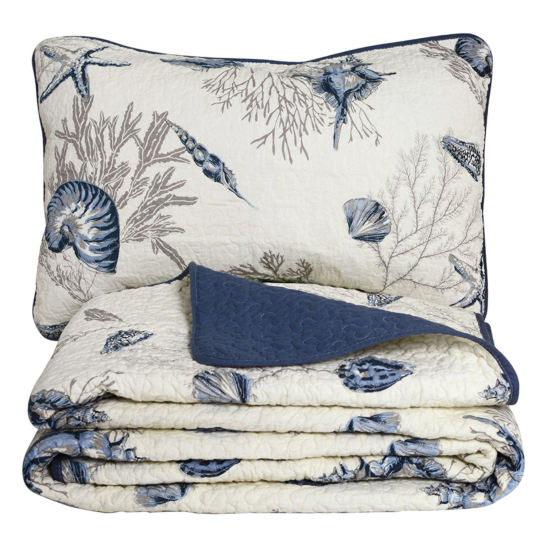 Queen Size Blue Ocean Comforter Set Nautical Bedding Set - Brandream