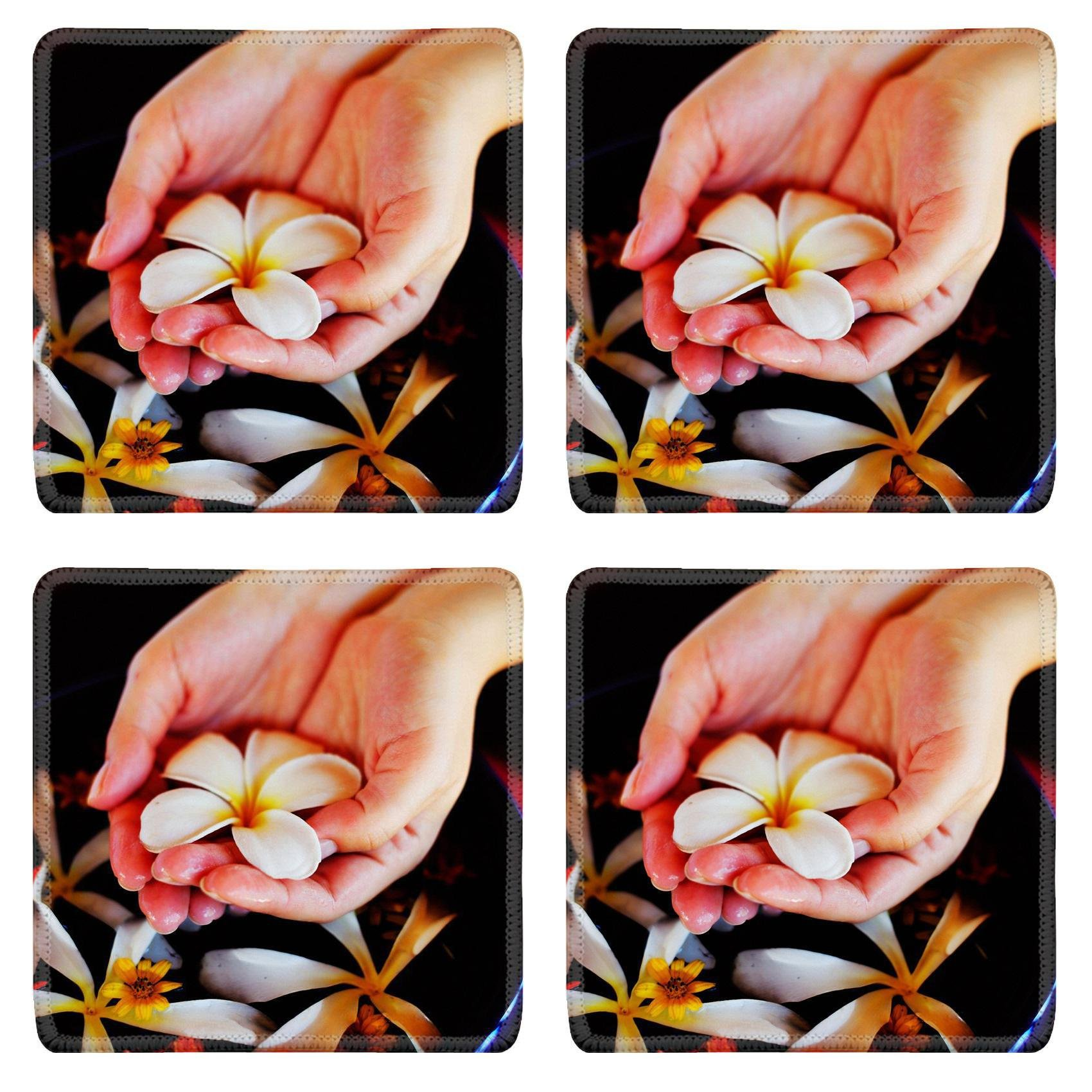 MSD Square Coasters Non-Slip Natural Rubber Desk Coasters design 20580340 spa and beauty female hand and flower in water