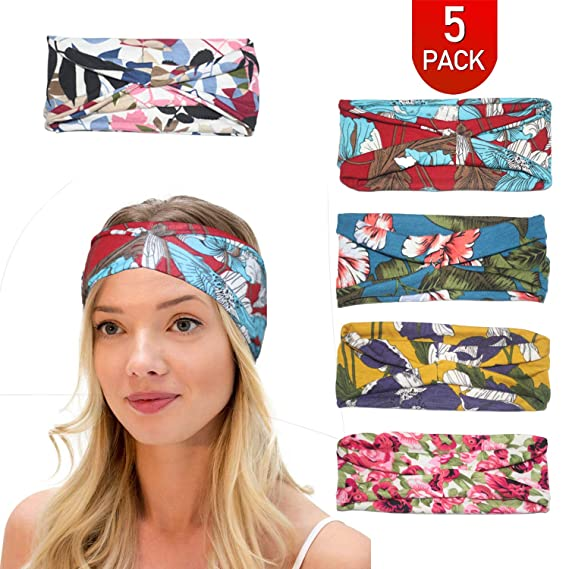 Amazon.com  LPVLUX 5 Pcs Headbands for Women Girls Wide Boho Knotted ... d37471e79bf