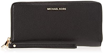 Michael Kors - Leather Continental Wristlet, Carteras de mano con asa Mujer, Negro (