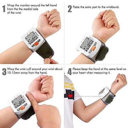 Tensiómetro Électronique Monitor de presión arterial de muñeca , Alta precisión, 90 memorias, Dos modos de usuario con indicadores BHI y OMS, ...