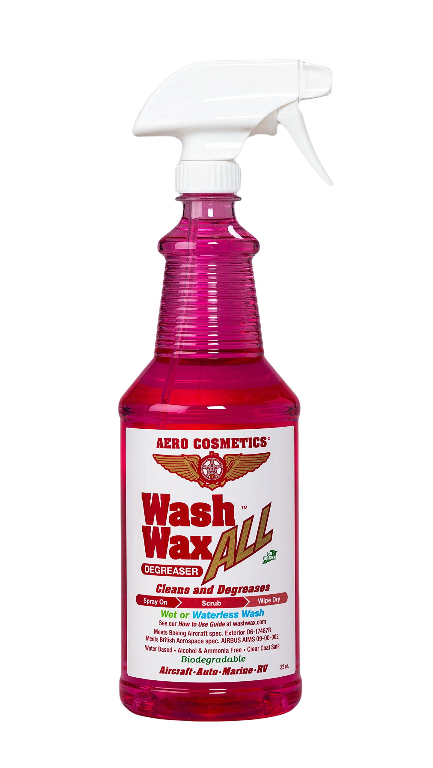 Aero Cosmetics Wash Wax ALL Degreaser, Wet or Waterless Cleaner Degreaser, Wheel, Tire, Engine Cleaner, Black Streak & Aircraft Exhaust Soot Remover, The Best for your Car, RV, Boat & Motorcycle 32oz