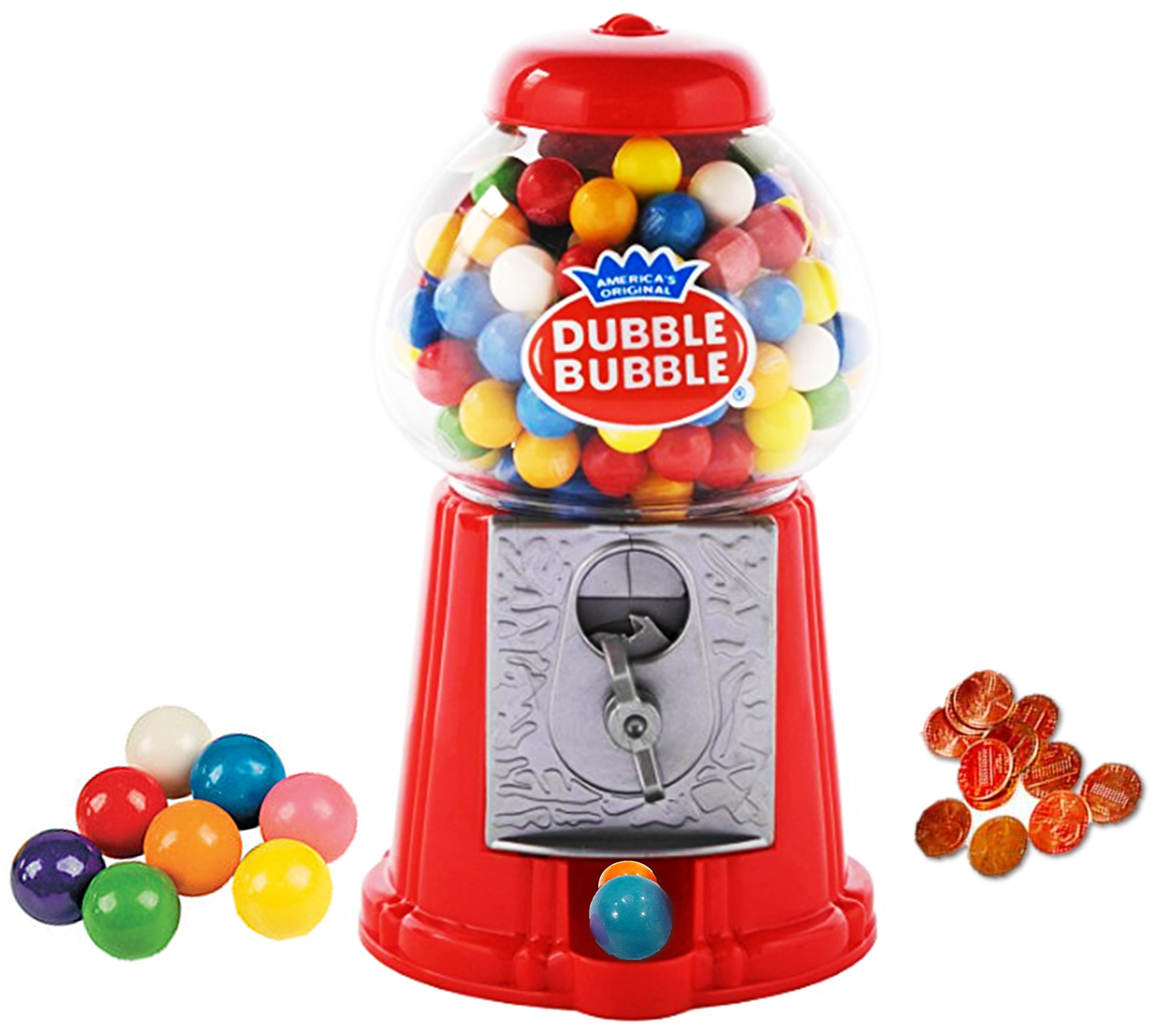Playo 8.5'' Coin Operated Gumball Machine Toy Bank - Dubble Bubble Classic Red Style Includes 45 Gum Balls - Kids Coin Bank
