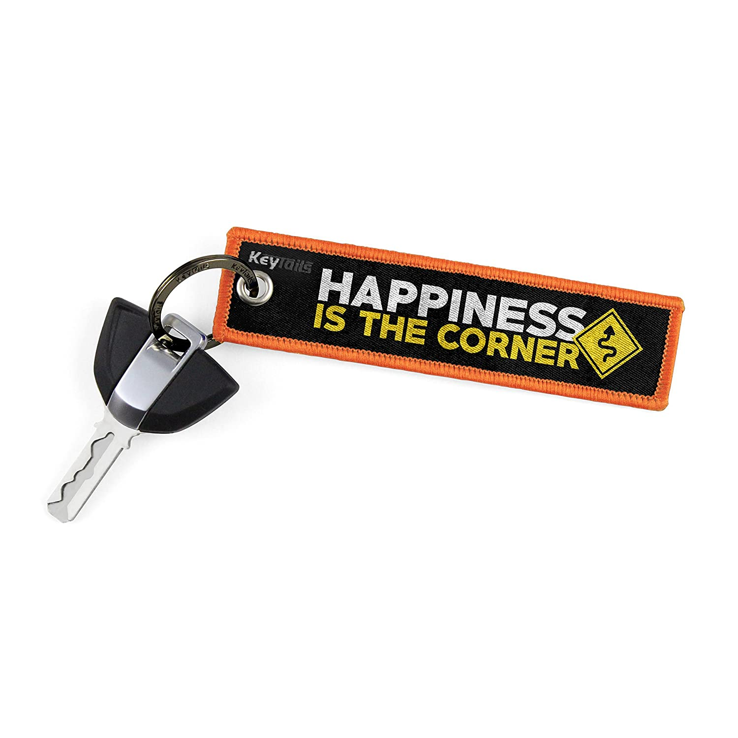 ATV Premium Quality Key Tag for Motorcycle Key Tails UTV Car Happiness is The Corner KEYTAILS Keychains Scooter