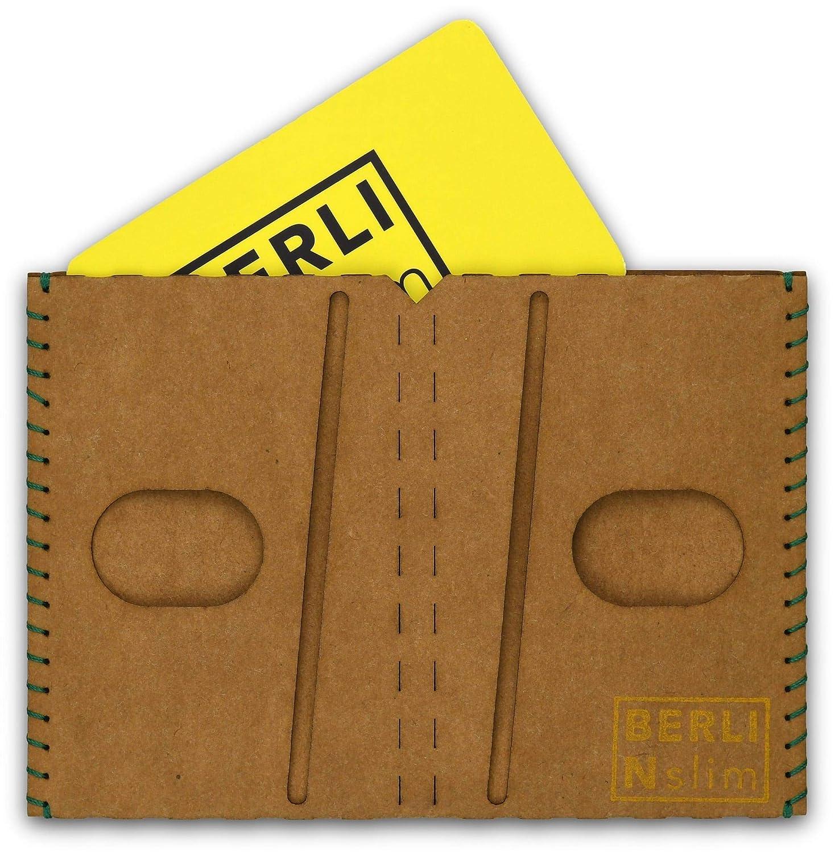 Billetera, Carteras para hombre, billetera-tarjetero – papel, delgado, minimalista, vegano, moderno – color canela – hecho por BERLIN slim