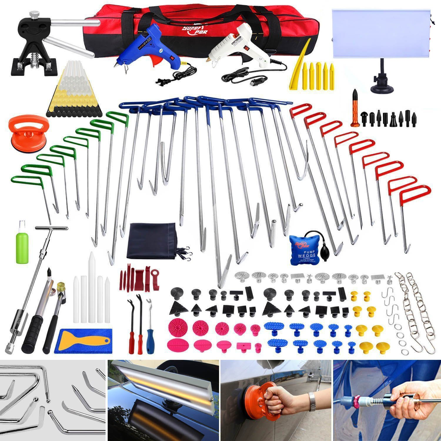 Super PDR 200pcs Professional PDR Rod Kit Spring Steel Push Hooks Auto Car Body Paintless Dent Removal Hair Damage Repair & Door Ding Remover Tools with Car Crowbar suction cup dent puller