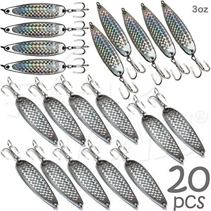 1-100 pcs 3oz Casting Crocodile Spoons Silver Holographic Fishing Lures