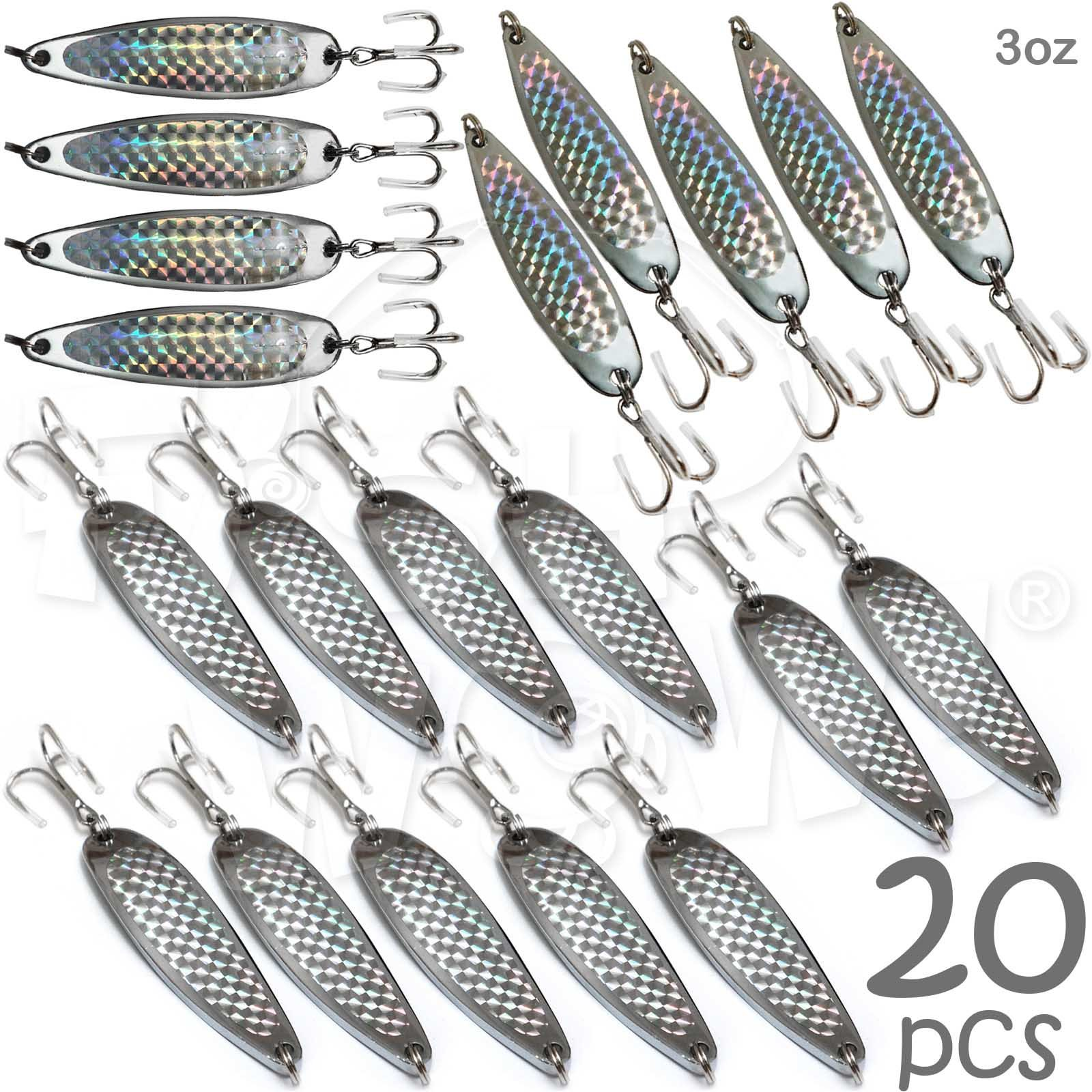 Fish WOW! 20pcs 3oz Fishing Spoon with a Treble Hook 85g Fish Jigging Casting Lure Baits - Silver Tape