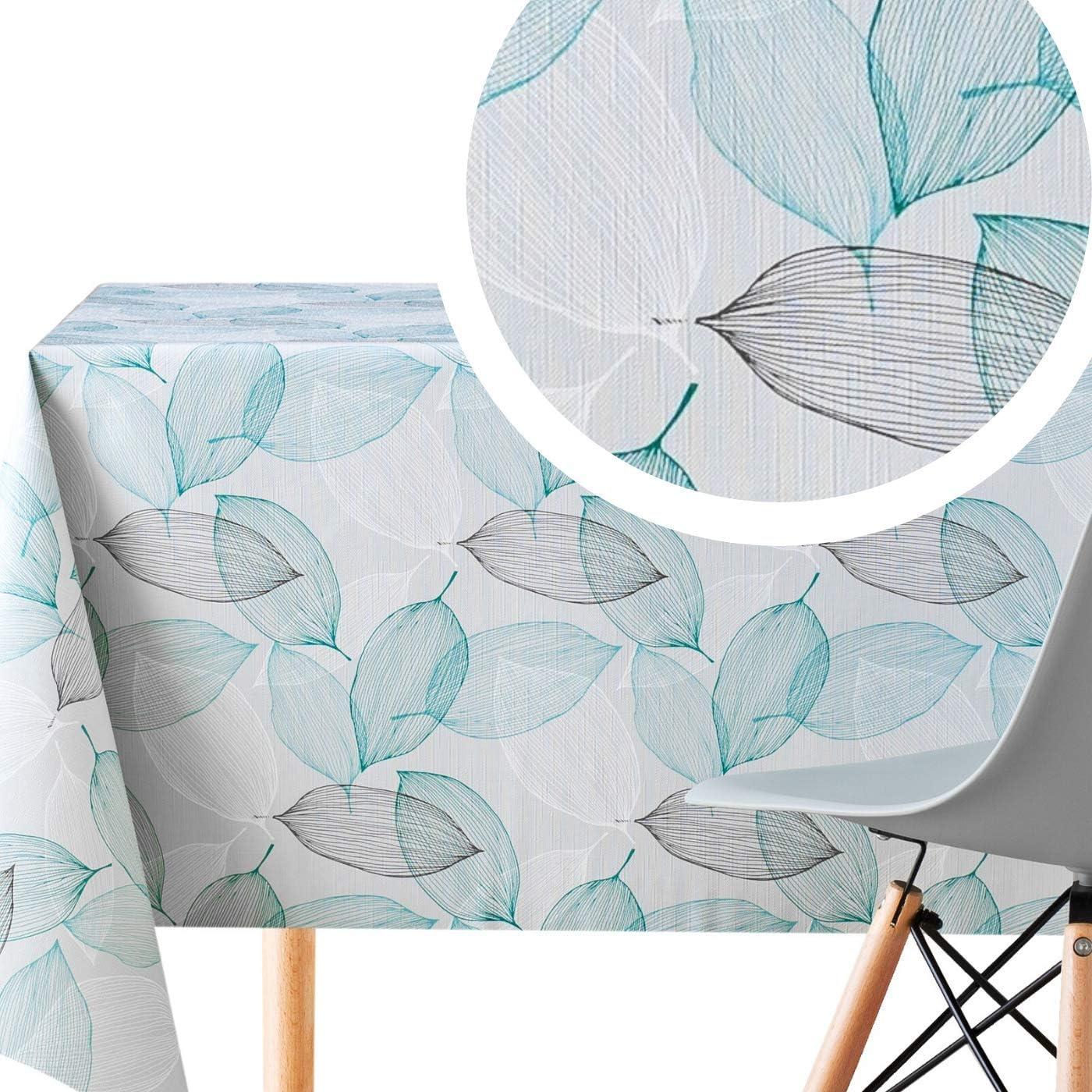 KP Home Manteles Hule Modernos Hojas Gris y Turquesa de PVC Fácil de Limpiar - 200 x 140 cm - Mantel Rectangular de Vinilo Plástico Fácilmente Limpiable con Diseño de Hojas