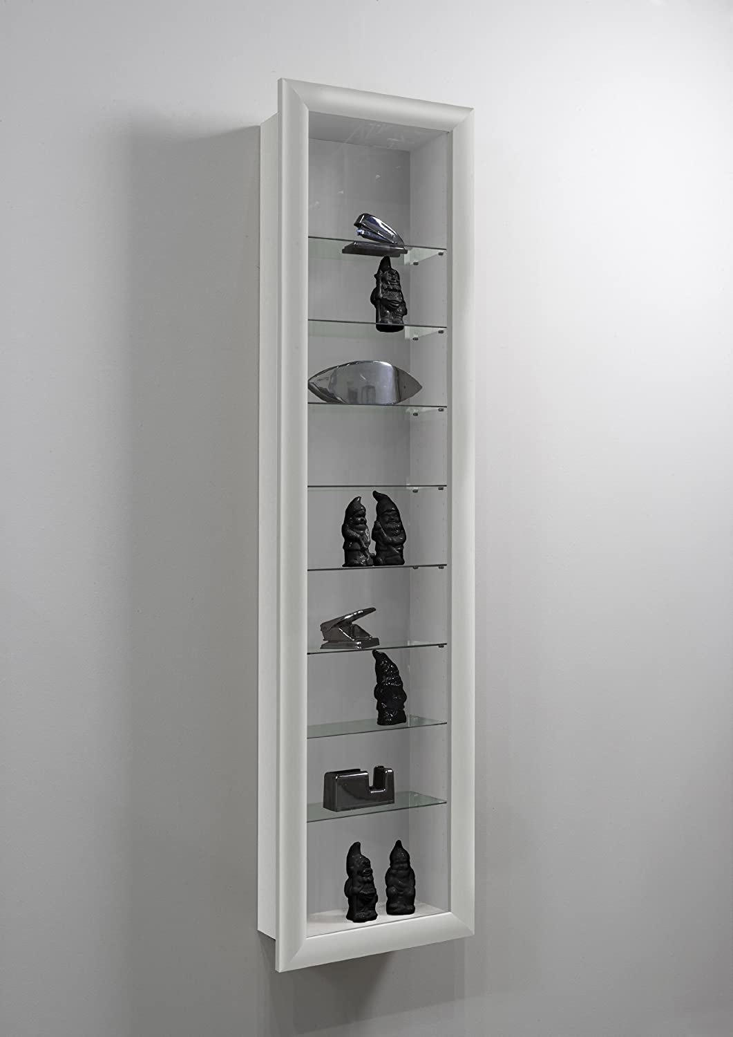 LHS SHOWCASE II Wall Mounted Glass Display Case Cabinet Unit Glass Shelves in White Colour