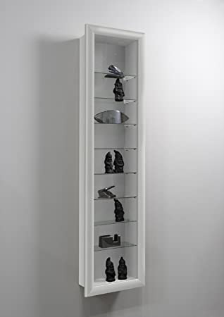 LHS SHOWCASE II Wall Mounted Glass Display Case Cabinet Unit With Glass  Shelves In White Colour