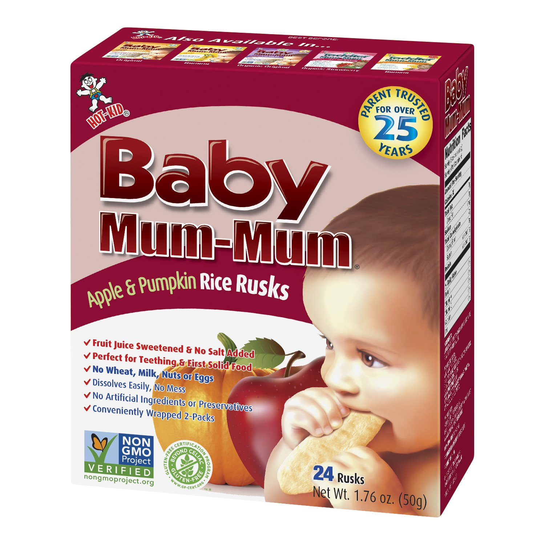 Hot Kid Baby Mum-Mum Rice Rusks, Apple & Pumpkin, 24 pieces, (Pack of 6)