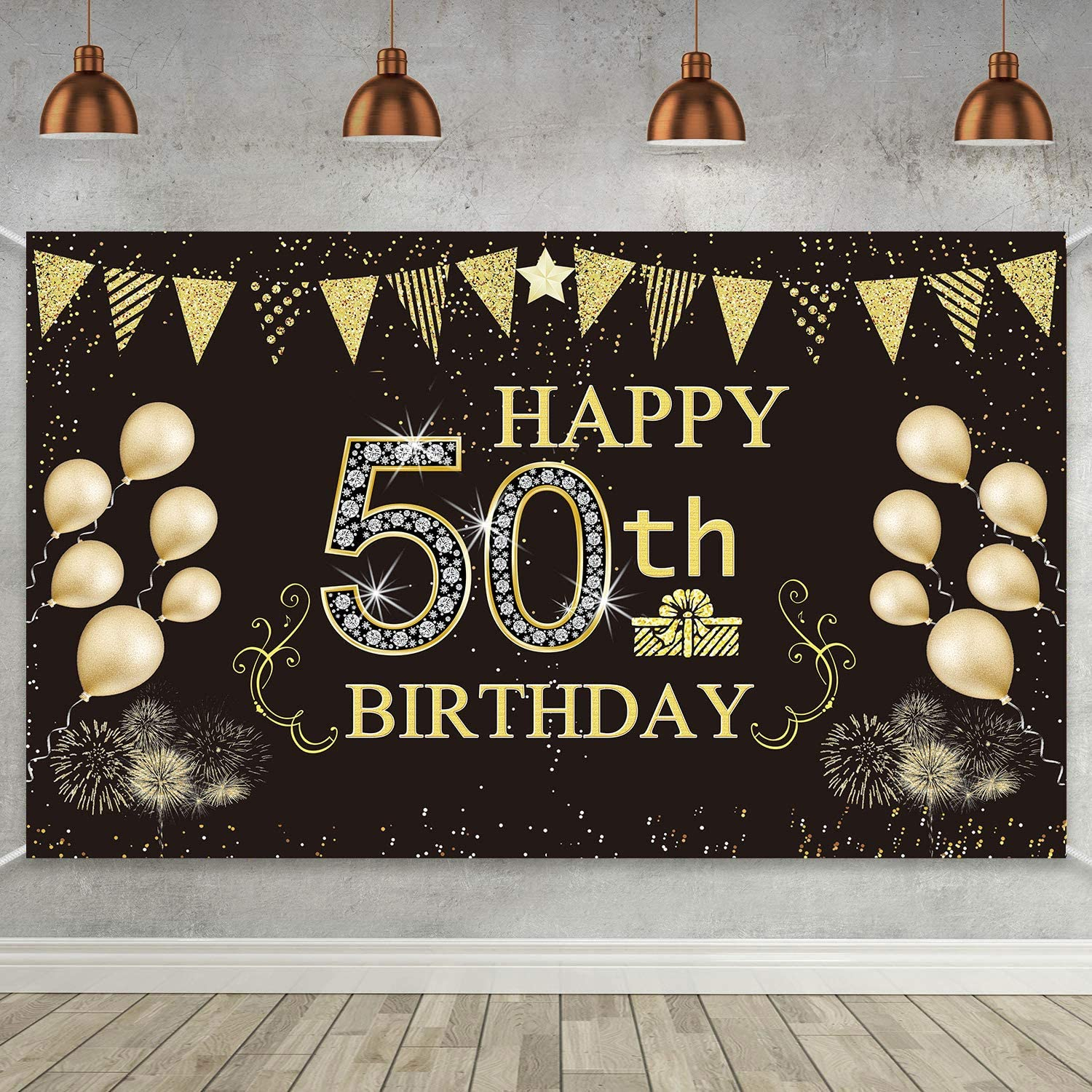 6 x 3.6 ft Cheers to 50 Years Backdrop Background Banner for 50th Anniversary Decorations 50th Birthday Black Gold Party Decorations