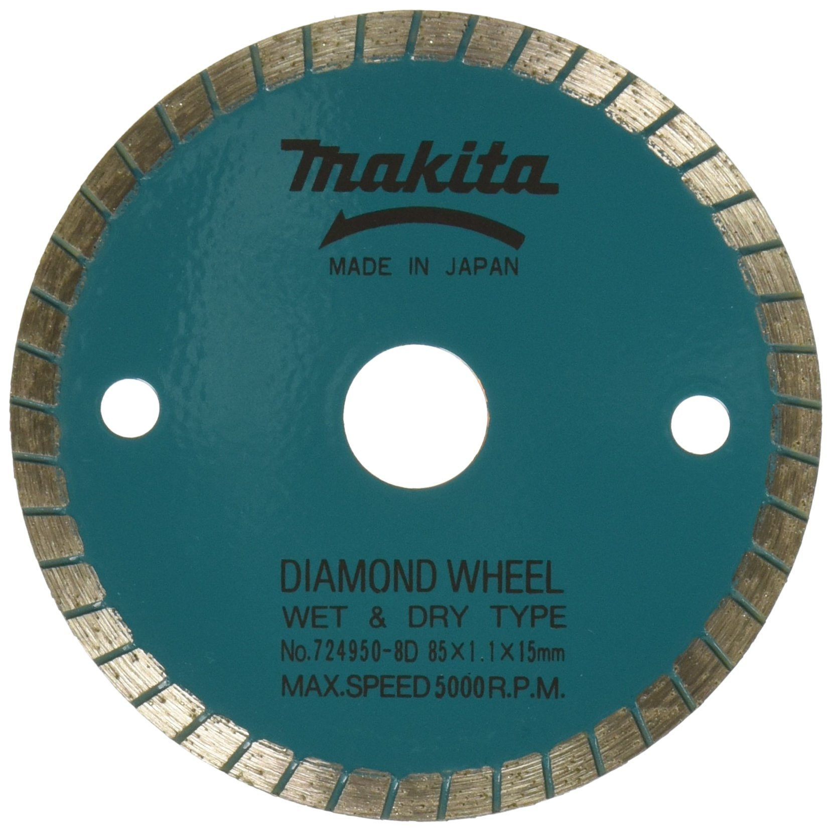Makita 724950-8D 3-3/8-Inch Wet Cutting Diamond Saw Blade with 15-Millimeter Arbor for Cutting Stone or Masonry