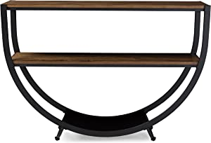 Baxton Studio Blakes Rustic Industrial Style Antique Textured Metal Distressed Wood Console Table, Black