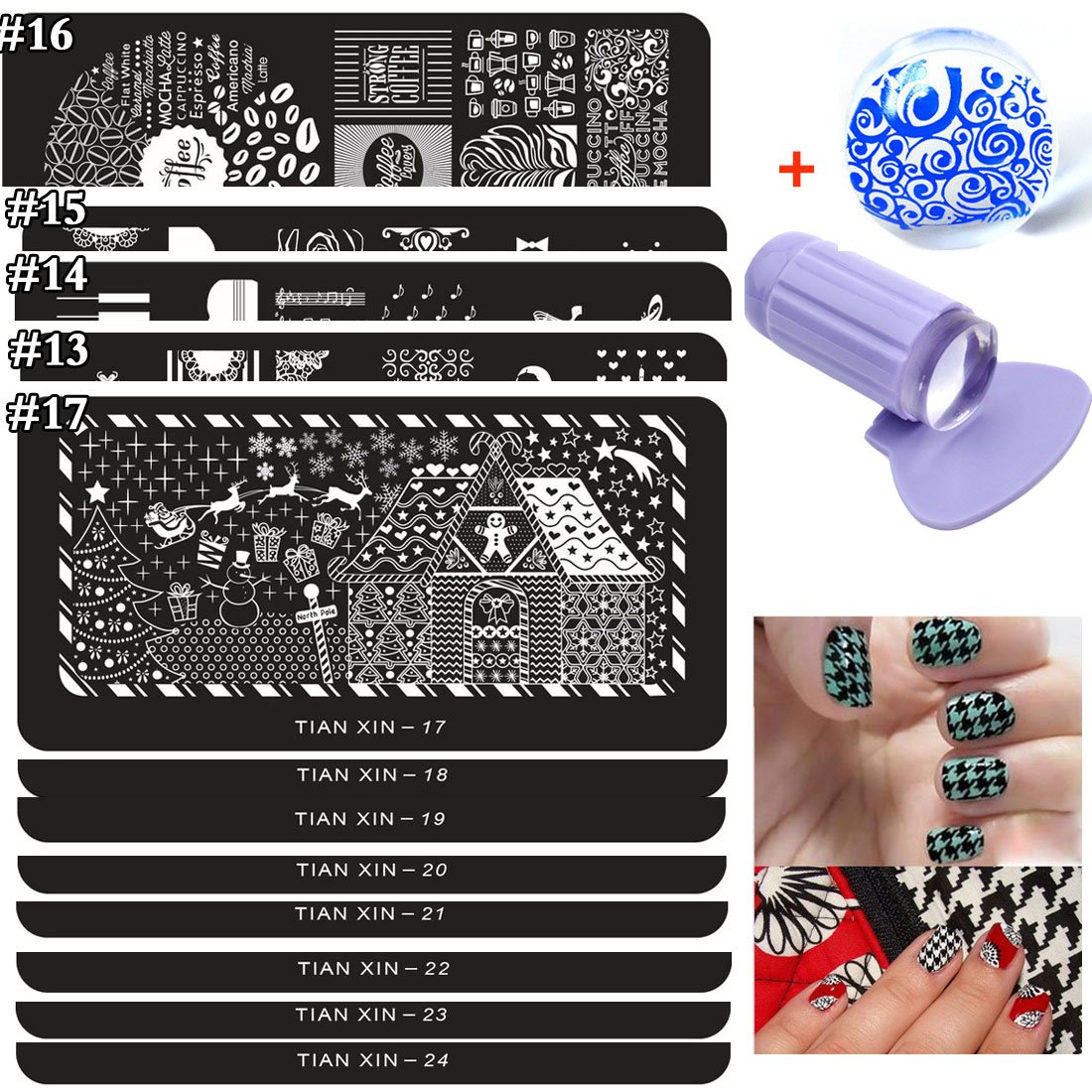 Lookathot 3/12/24/30 Nail Art Image Stamp Stamping Plates with 1 Stamper, 1 Scraper NS09