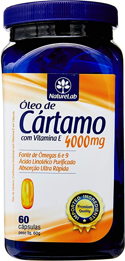 Óleo de Cártamo + Vitamina E 4000 mg, Naturelab, 60 Cápsulas