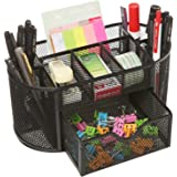 Callas Metal Mesh Desk Organizer, Black Plus Free 1 set of Sticky Notes & Coloured Strips/Flags , LD 708-05