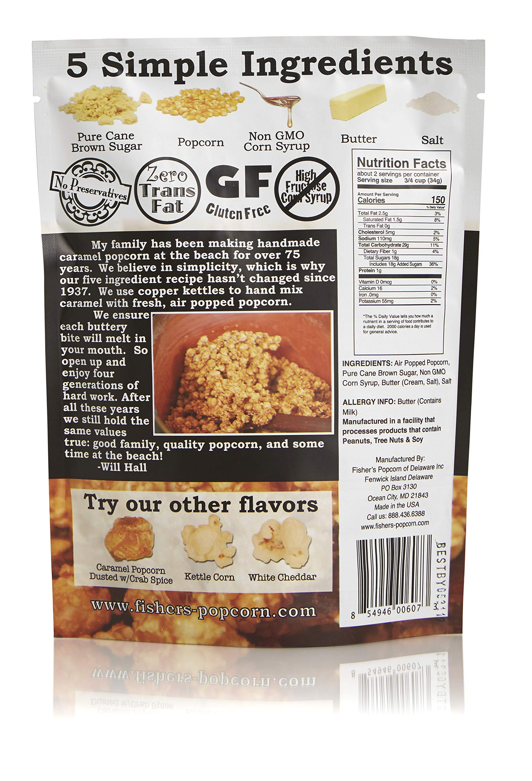 Fisher's Popcorn Caramel Popcorn, Gluten Free, 5 Simple Ingredients, Handmade, No Preservatives, No High Fructose Corn Syrup, Zero Trans Fat, 2oz Bags (Case of 50) by Fisher's Popcorn (Image #2)