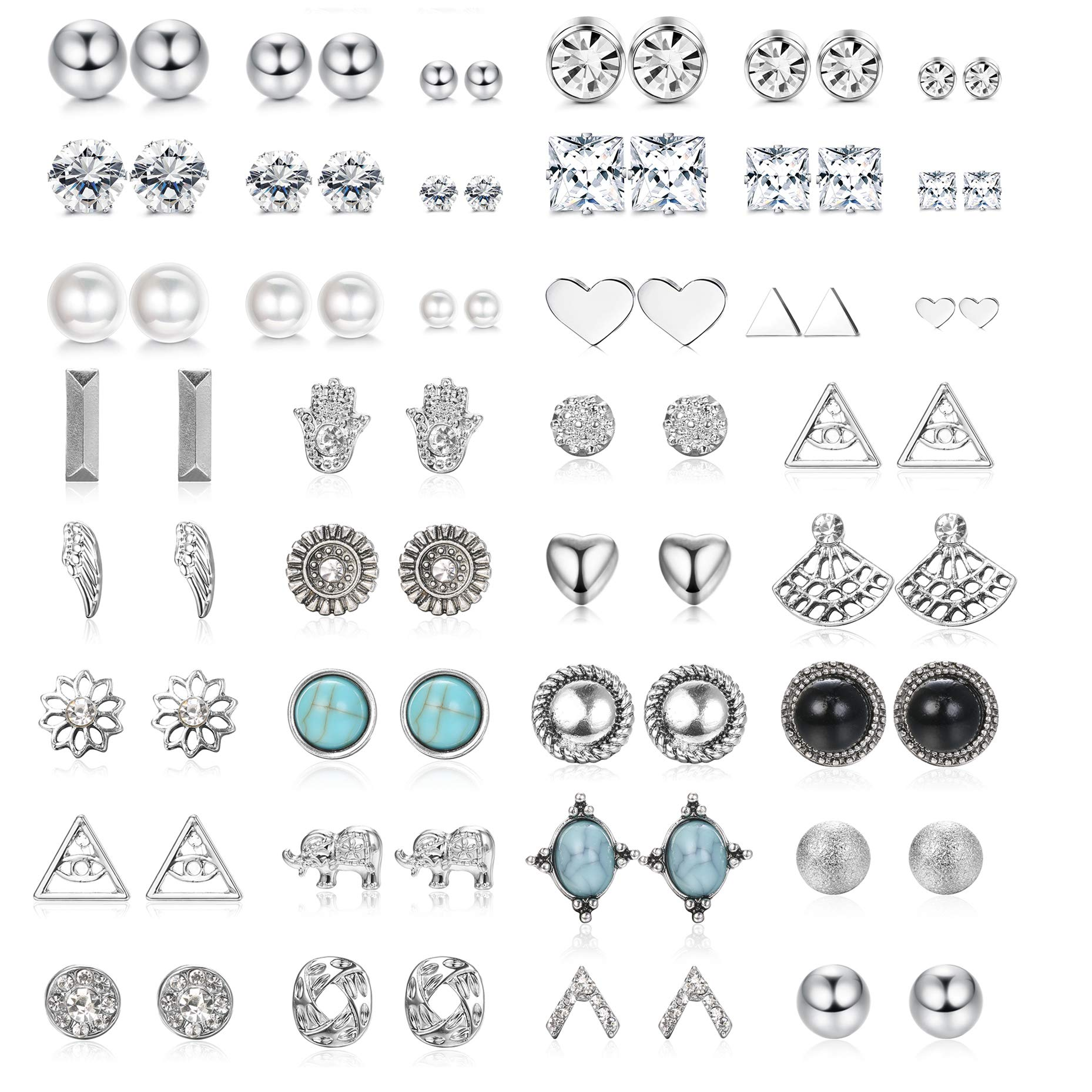 SAILIMUE 38 Pairs Stainless Steel Stud Earrings Geometric Earrings Set Heart Triangle Elephant Turquoise Flower Ball Pearl Clear CZ Earrings for Men Women Jewelry Set by SAILIMUE