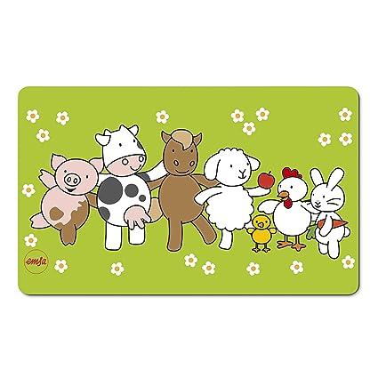 Emsa 509712 Brettchen für Kinder, Farmmotiv, 23.5 x 14.5 cm, GrünBunt, Farm Family