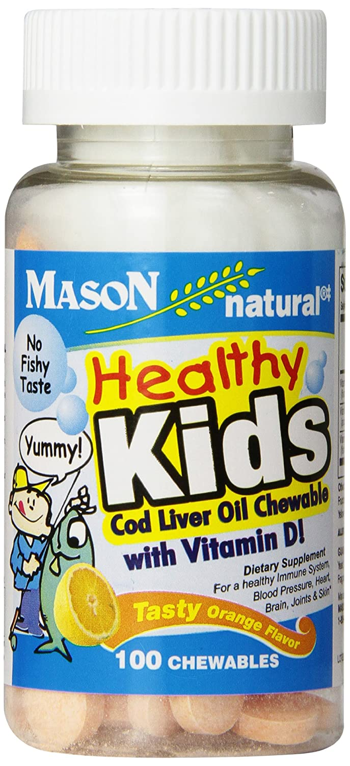 Mason Natural, Healthy Kids Cod Liver Oil and Vitamin D Tasty, Orange Flavor