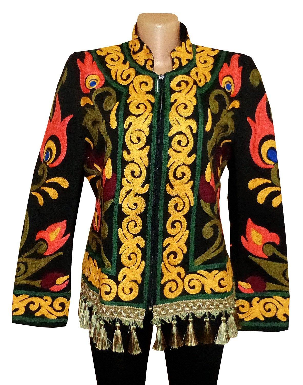 UZBEK TRADITIONAL BUKHARA OUTWEAR COSTUME JACKET SILK EMBROIDERY SUZANI A10192
