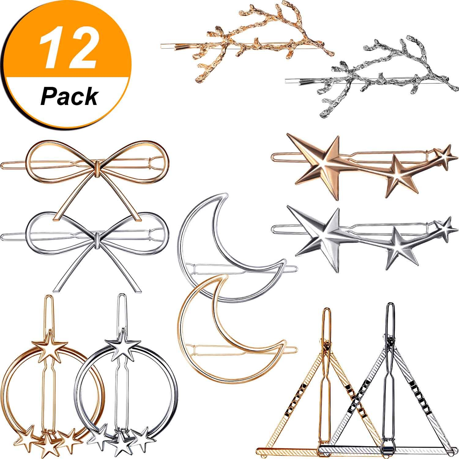 Skylety 12 Pieces Hair Clips for Women, Hair Barrettes Hair Pins, 6 Different Styles Hair Clips for Girls Thick Hair Styling, Gold and Silver