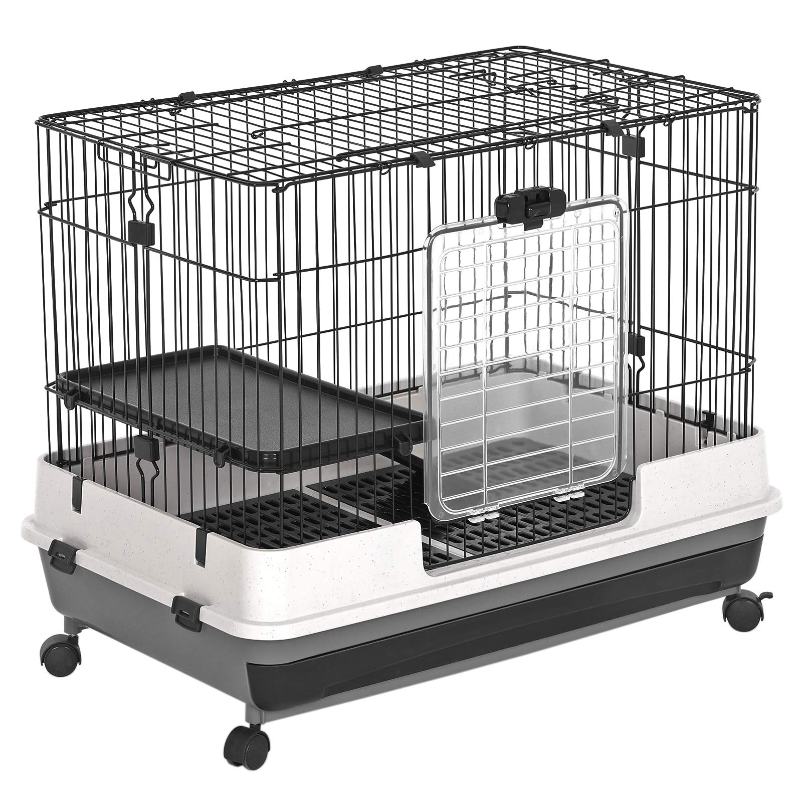 SONGMICS Small Animal Pet Cage, Ferret Chinchilla Playpen Hutch with Platform, Ramp, Leakproof Litter Tray, Double Doors, and Lockable Wheels, Black UPSC01BK by SONGMICS