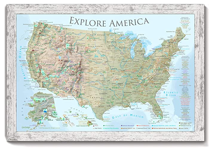 Amazon.com: National Parks Map - Framed Push Pin Map - Designed by a ...