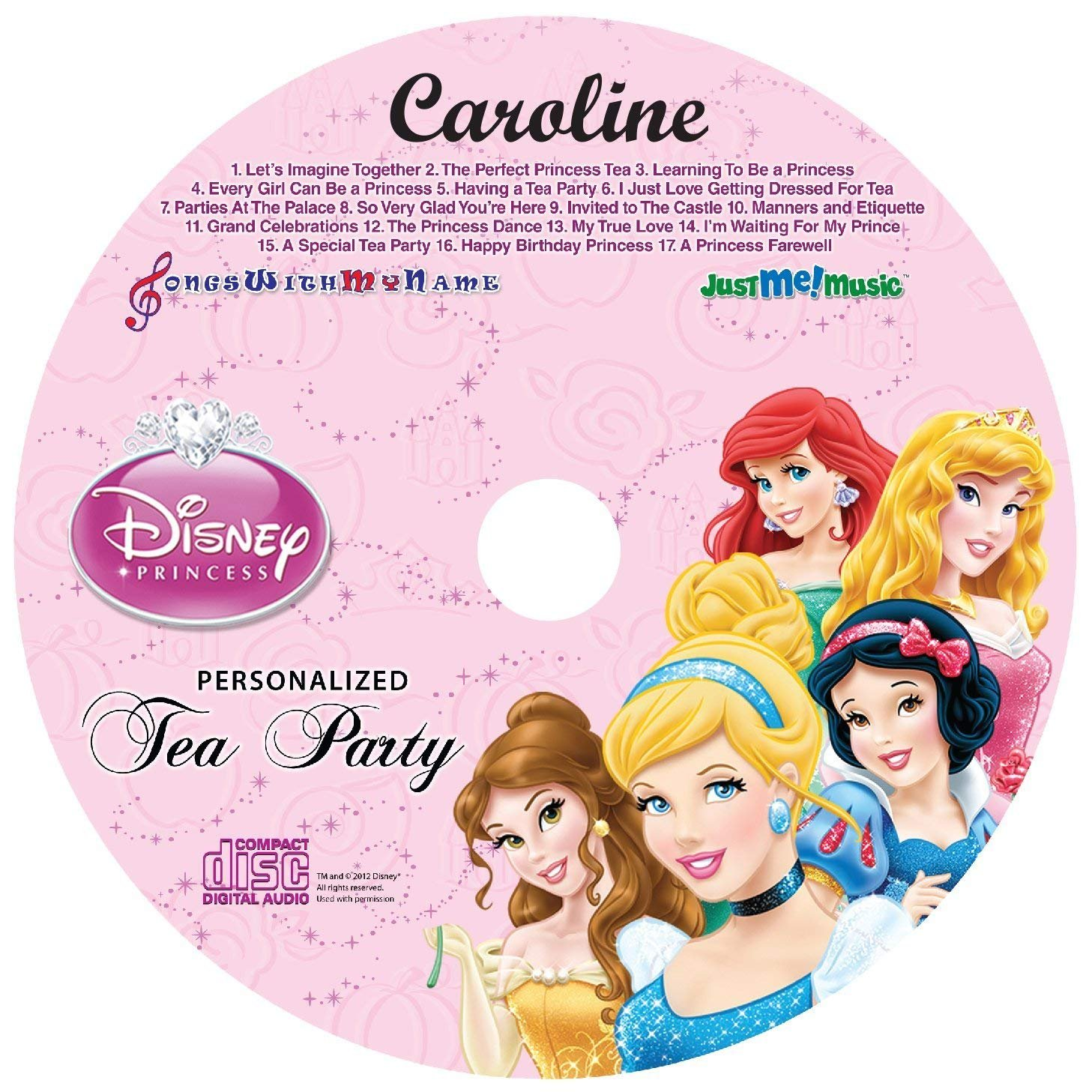 Gombita Enterprises Children Name Personalized CD or MP3 Sing Along with Disney Princess Tea Party Customize Now (CD Disk & Digital MP3 Code)