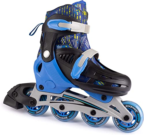 New Bounce Inline Skates for Kids – Adjustable 4 Wheel Blades Roller Skates for Boys, Girls, Teens, and Young Adults Outdoor Rollerskates for Beginners Advanced Blue