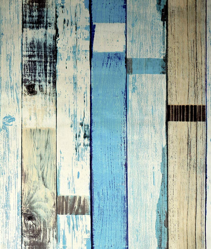 """JZ·HOME HY9304 Peel and Stick Rustic Wood Plank Wallpaper 17.7""""x 9.8ft Pre-Pasted Removable Shiplap Wood Strips Wallpaper Vinyl Self Adhesive Wood Look Wallpaper"""