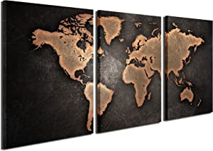 Gardenia Art - World Map Series 3 Canvas Prints Wall Art Paintings Modern Brown Plates Wall Artworks Pictures for Room Decoration, 16x24 inch/Piece, 3 Panels